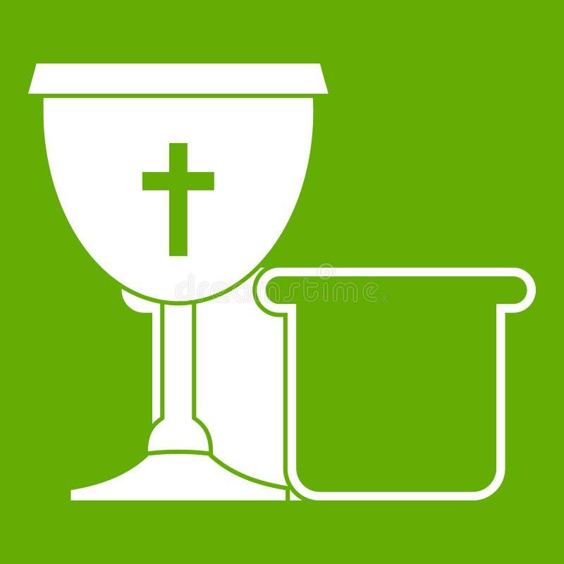 Verde do ícone da bacia e do pão ilustração royalty free