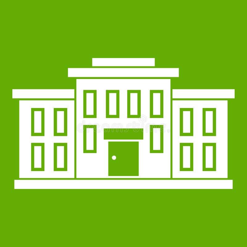 Verde do ícone do prédio da escola ilustração do vetor