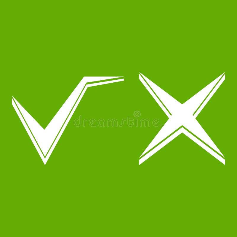 Verde do ícone do tiquetaque e da cruz ilustração do vetor