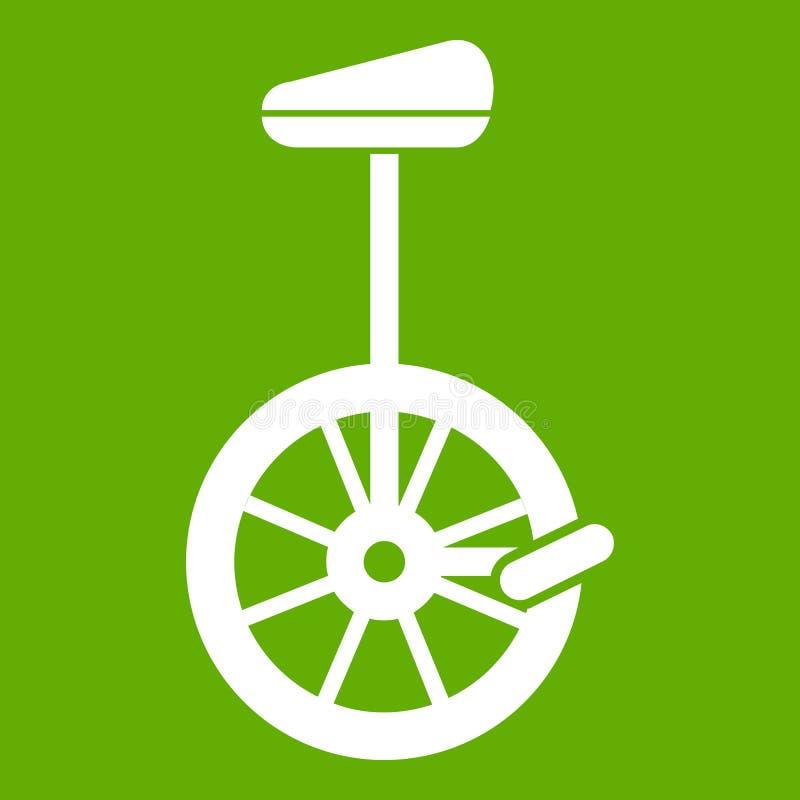 Verde do ícone do Unicycle ilustração do vetor