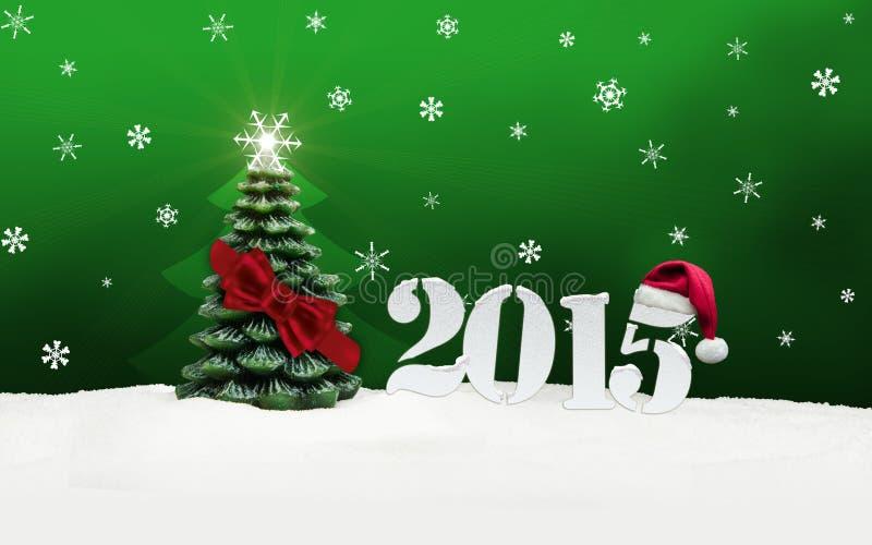 Verde do ano novo feliz 2015 de árvore de Natal ilustração royalty free