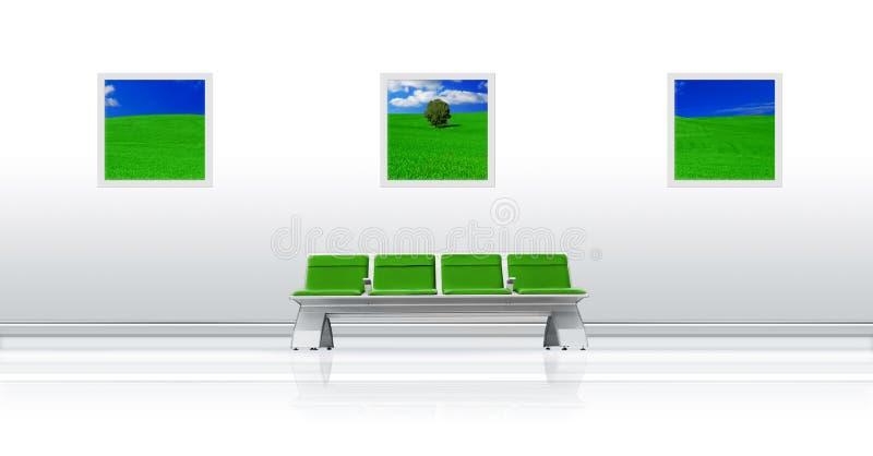 Verde do assento do aeroporto ilustração stock