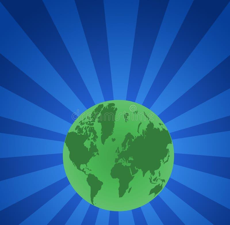 Verde do globo do mapa de mundo ilustração stock