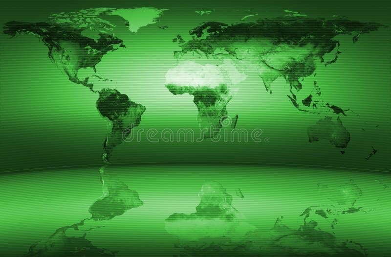 Verde do mapa de mundo ilustração do vetor