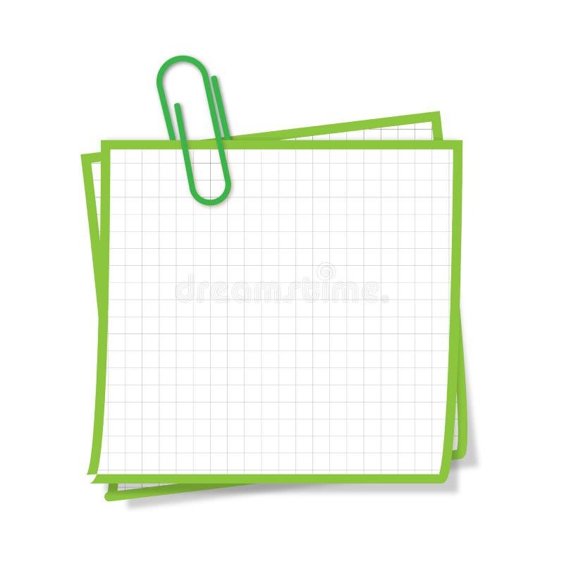 Verde do post-it ilustração do vetor