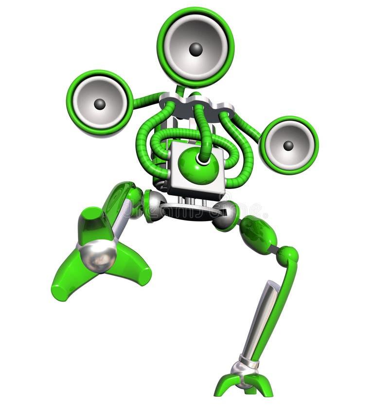 Verde do robô da música ilustração stock