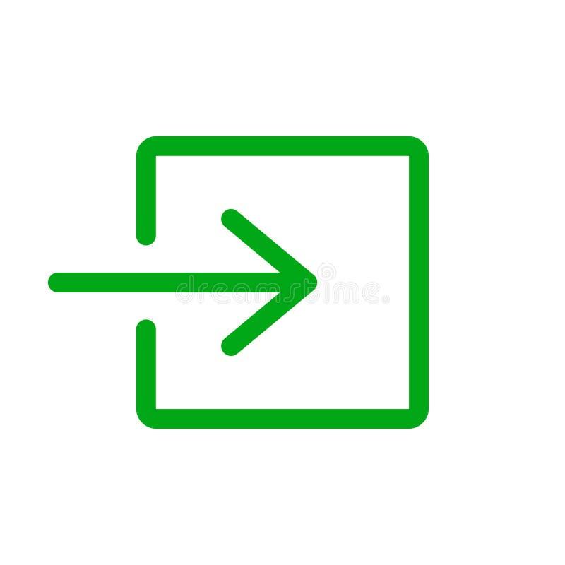 Verde do sinal da saída de emergência no fundo branco ilustração royalty free
