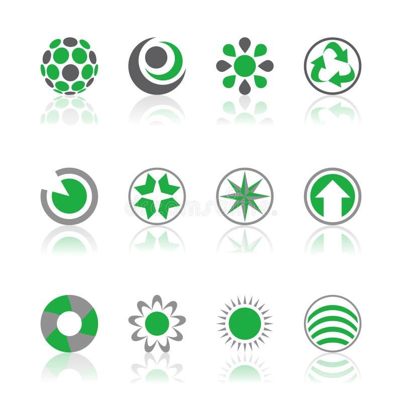 Verde dos logotipos da companhia ilustração royalty free