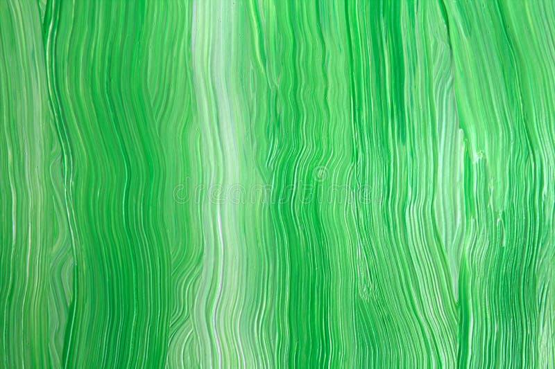 Verde e branco abstraia o fundo Pintura acrílica Close-up fotografia de stock