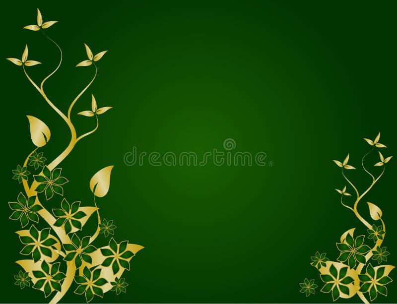 Download Verde E Disegno Floreale Dell'oro Illustrazione Vettoriale - Illustrazione di ornamento, organico: 7310070
