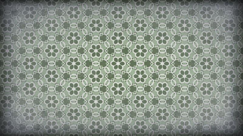 Verde e Grey Vintage Floral Pattern Background ilustração stock