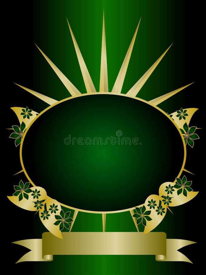 Verde e ouro Backround floral ilustração stock