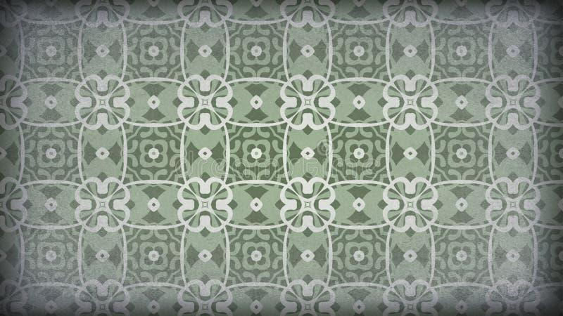 Verde e papel de parede de Grey Vintage Decorative Floral Pattern ilustração royalty free
