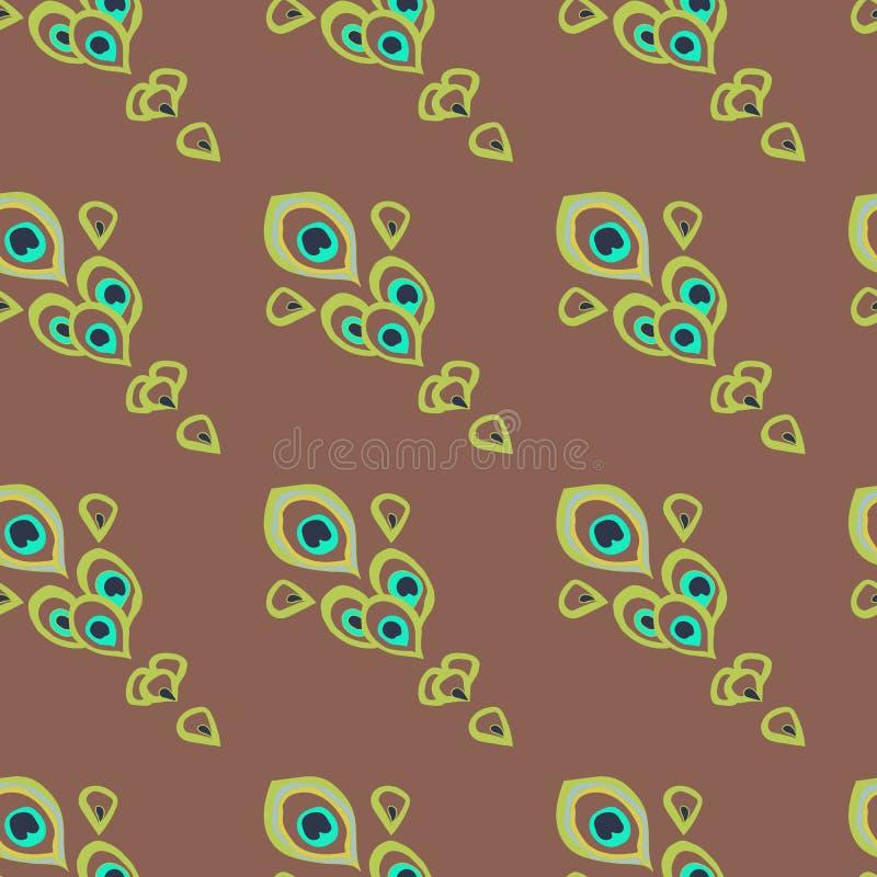 Verde e penas do pavão de turquesa como uma cauda do pavão posicionada diagonalmente no fundo marrom ilustração stock
