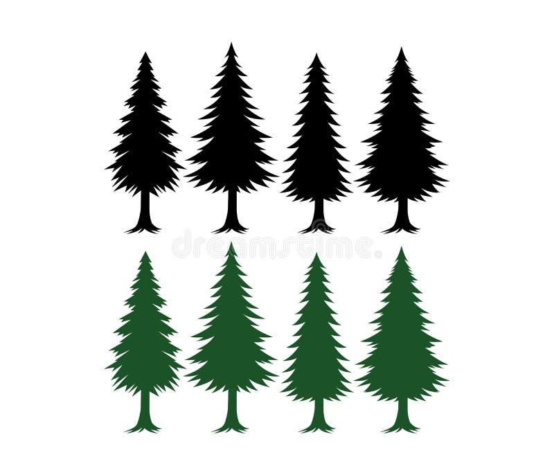 Verde e preto ajustados do molde do vetor da silhueta do pinheiro ilustração stock
