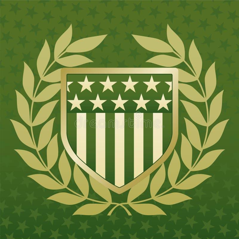 Verde e protetor do ouro em um fundo da estrela ilustração stock