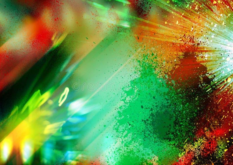 Verde e rosso, luci gialle e raggi sui precedenti neri, sul fondo strutturato di illuminazione, sulla struttura astratta e sul mo illustrazione di stock