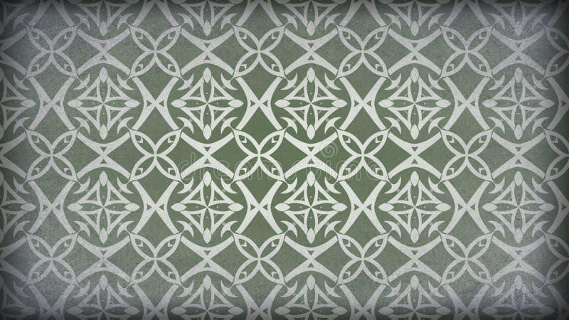 Verde e teste padrão de Grey Vintage Decorative Ornament Background ilustração royalty free