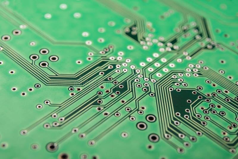 Verde eléctrico de la placa de circuito, fondo foto de archivo