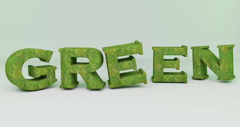 Verde en la hierba textured palabra 3d libre illustration