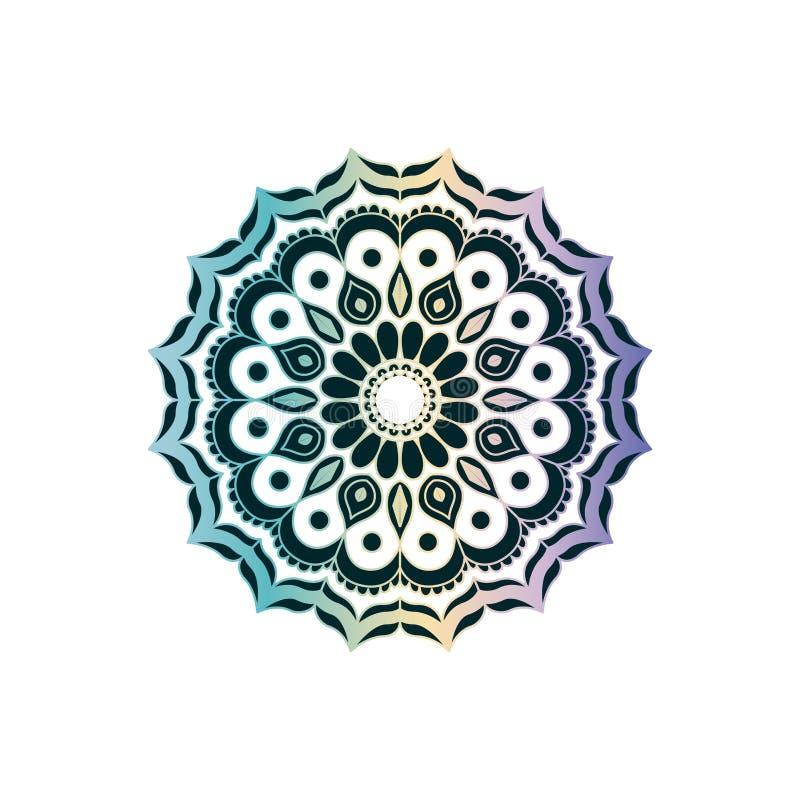 Verde en la transparencia y el ornamento decorativo de la flor del vintage brillante colorido de la mandala libre illustration
