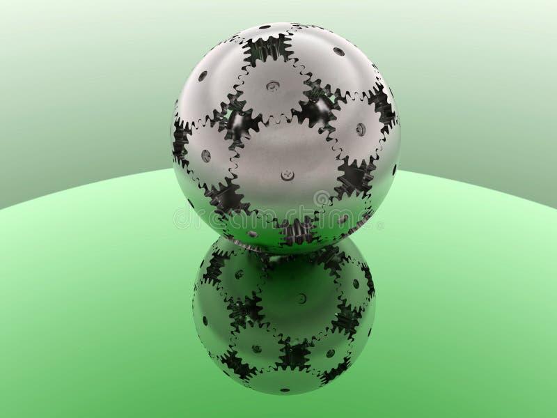 Verde - esfera das engrenagens ilustração royalty free