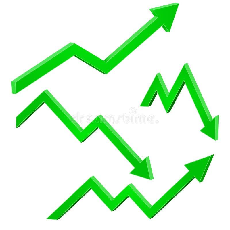 Verde finanziario su e giù le frecce commoventi Tendenze aumentanti e di cadute illustrazione di stock