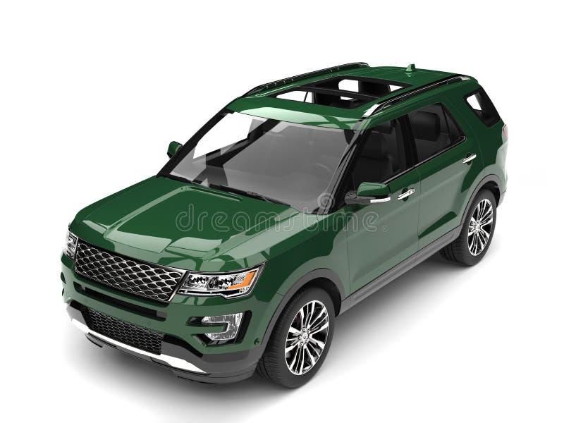 Verde floresta escuro SUV moderno - cubra abaixo da vista ilustração royalty free