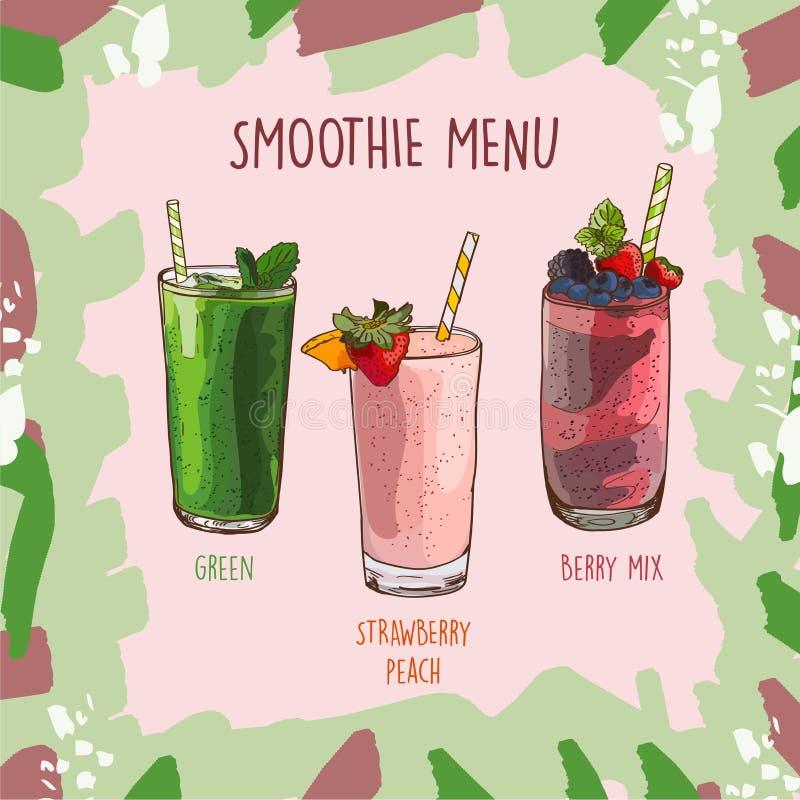 Verde, Fresa-melocotón, receta del sistema del smoothie de Berry Mix Elementos del menú para el café o el restaurante con la bebi ilustración del vector