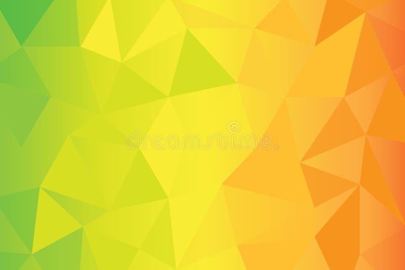 Verde, fundo poli alaranjado do amarelo ilustração do vetor