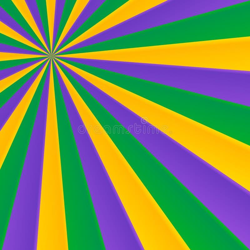 Verde, giallo e viola rays il fondo di carnevale illustrazione vettoriale