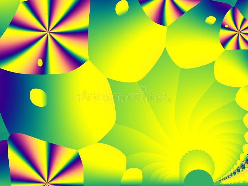 Verde, giallo ed arte allegra del fondo di frattale dell'arcobaleno con le forme variopinte Modello grafico creativo per gli even illustrazione vettoriale