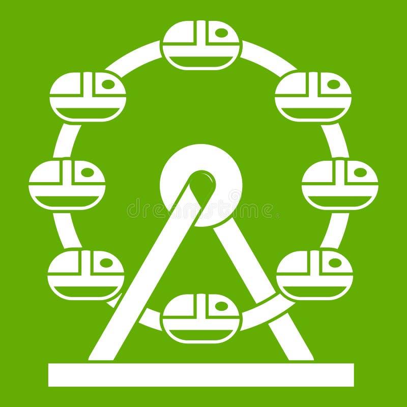 Verde gigante dell'icona della ruota di ferris illustrazione di stock