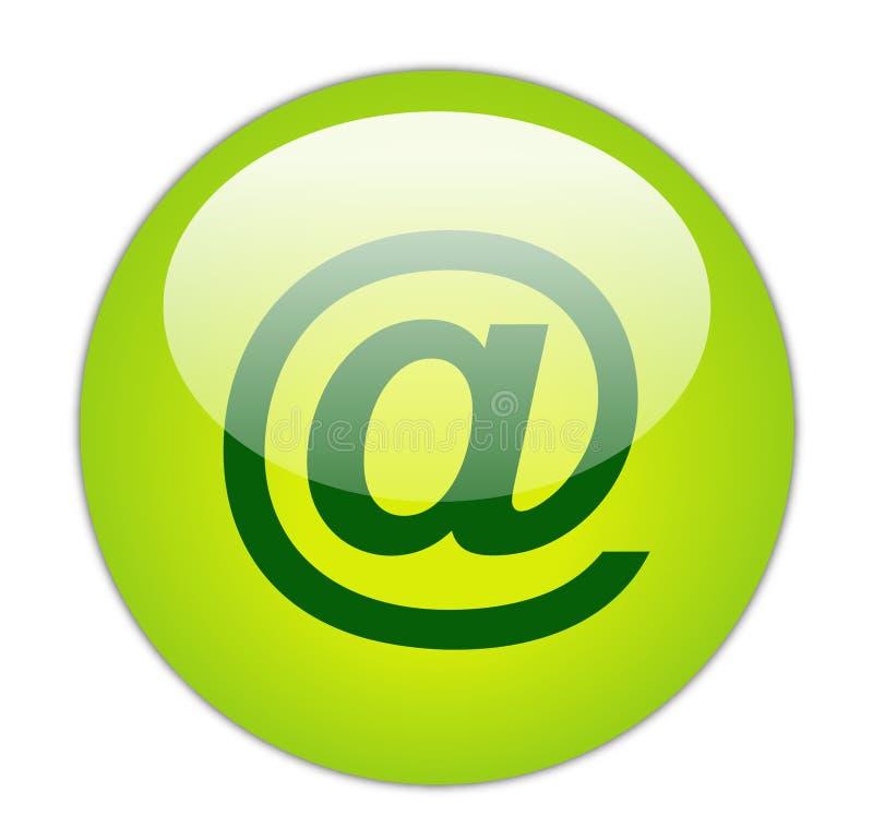 Verde Glassy no ícone da taxa ilustração stock