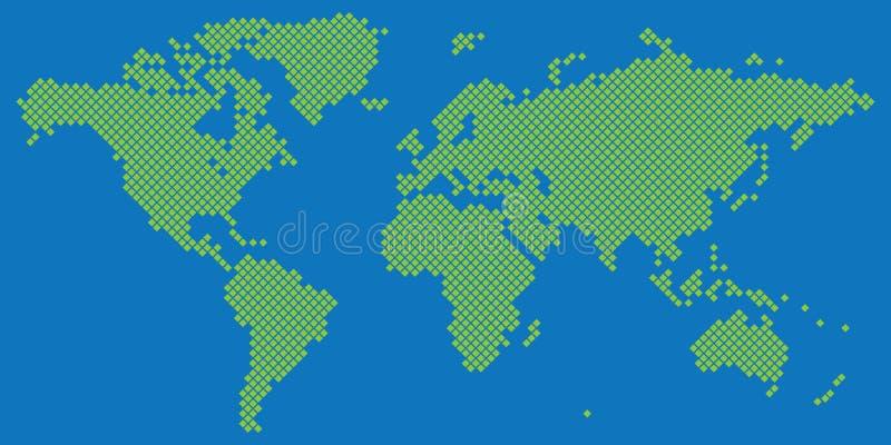 Verde grande del vector del mapa del mundo de Tetragon en azul libre illustration