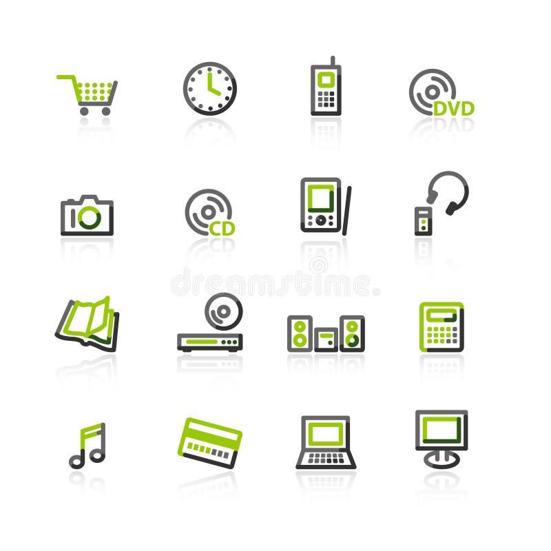 Verde-gris e-hacen compras los iconos stock de ilustración