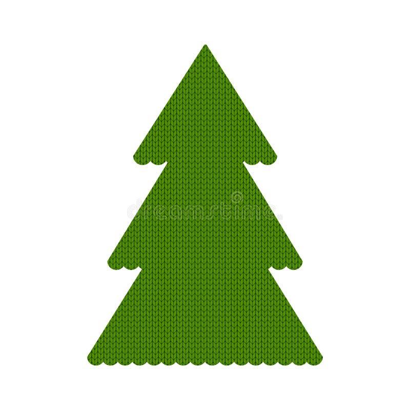 Verde hecho punto del árbol de navidad ilustración del vector