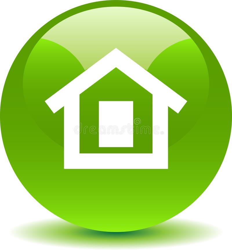 Verde home do ícone da Web do botão ilustração do vetor