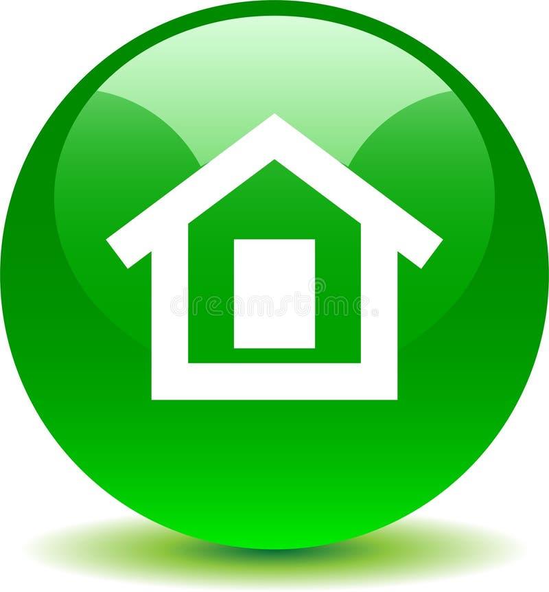 Verde home do ícone da Web do botão ilustração royalty free