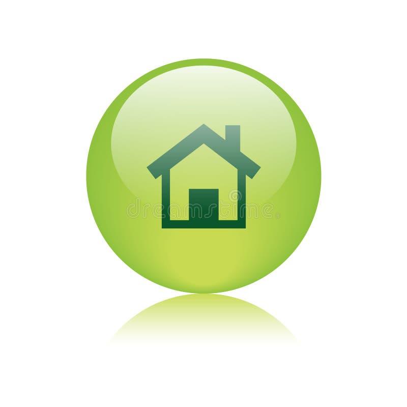 Verde home do botão da Web do ícone ilustração royalty free