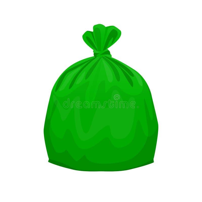 Verde inútil plástico del bolso aislado en el fondo blanco, las bolsas de plástico verdes para la separación inútil, la bolsa de  libre illustration