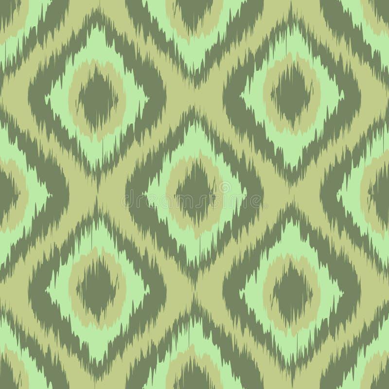 Verde inconsútil del fondo del modelo de la tela del diamante colorido del ikat Menta vector de color caqui ilustración del vector