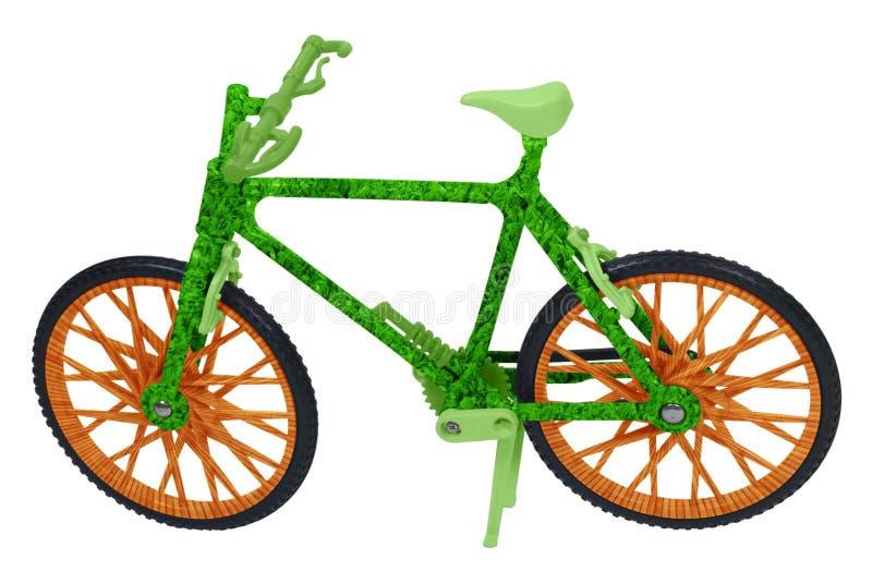 Verde indo com uma bicicleta da madeira e da grama imagens de stock