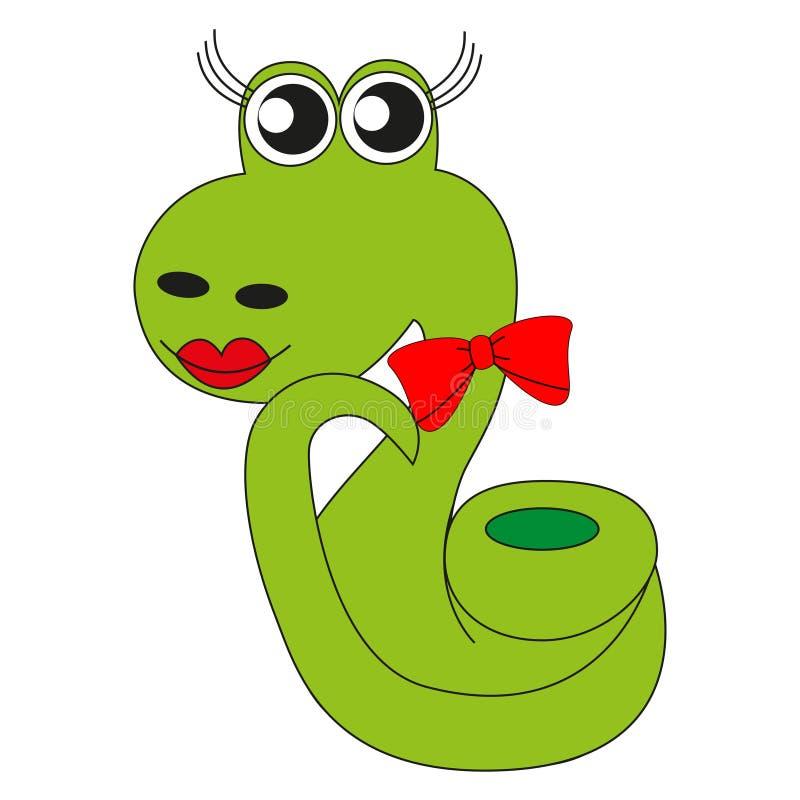 Verde lindo de la serpiente de la historieta libre illustration
