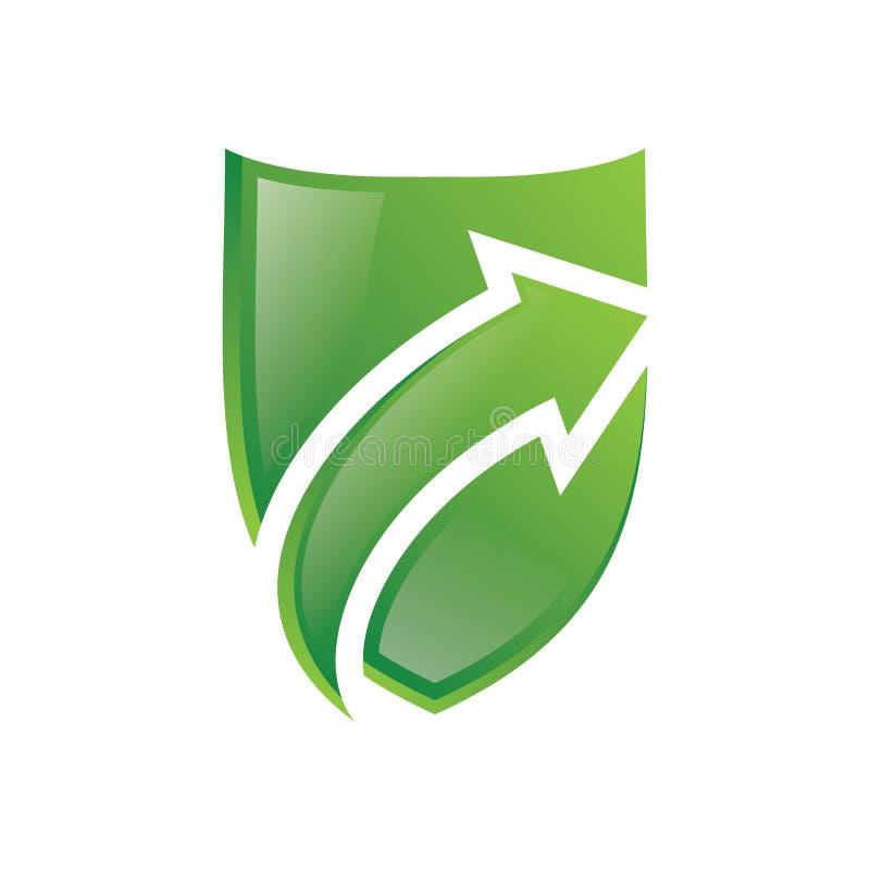 Verde Logo Vector de la flecha del escudo libre illustration