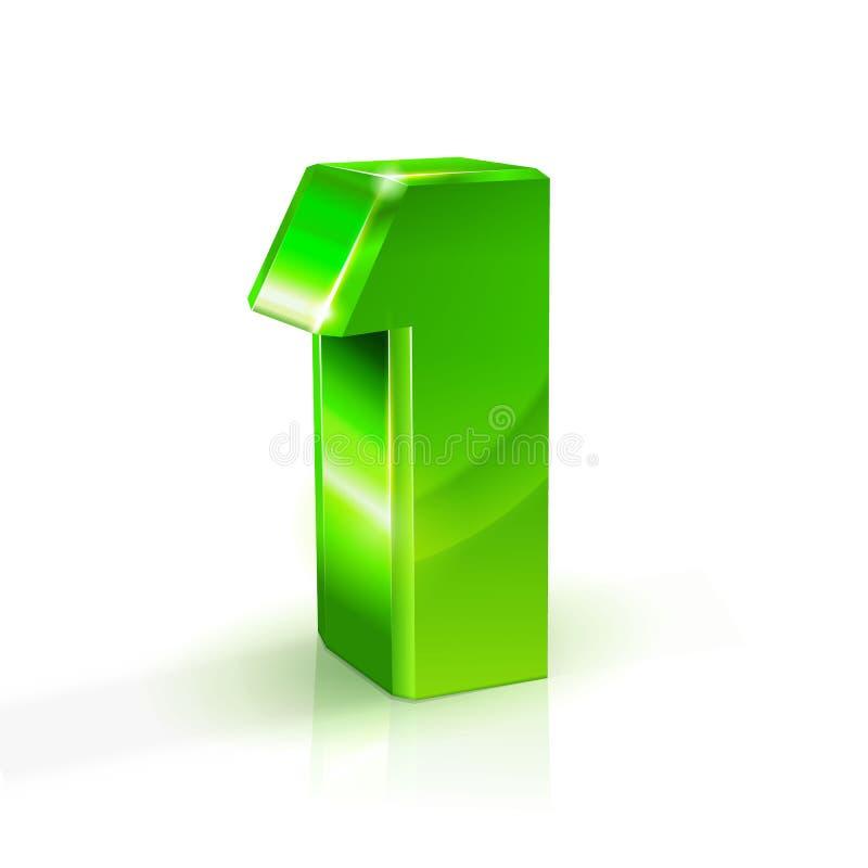 Verde lucido uno 1 numero illustrazione 3d su priorità bassa bianca illustrazione di stock