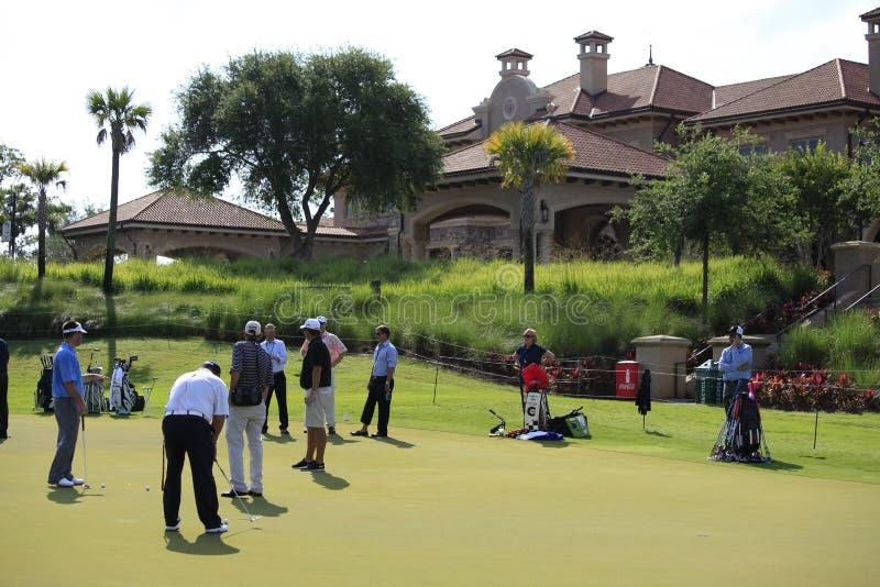 Verde mettente, i giocatori, TPC Sawgrass, Florida fotografie stock libere da diritti
