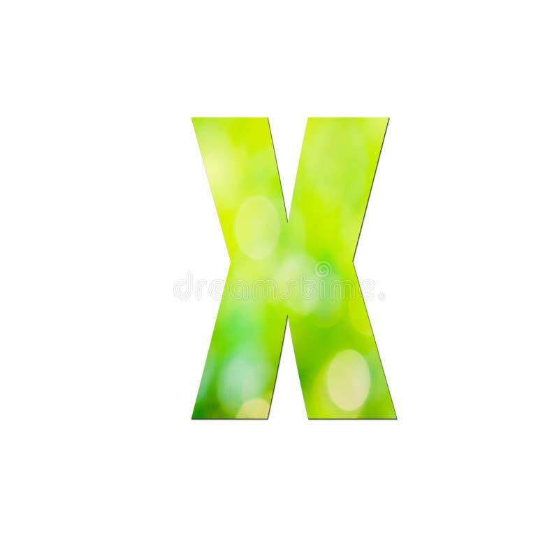 Verde natural em letra pequena ' x' sobre fundo branco ilustração stock