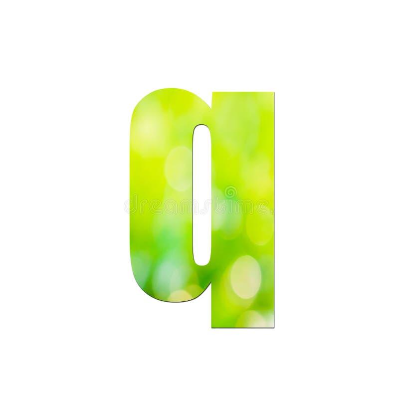 Verde natural em letras pequenas ' q ' sobre fundo branco ilustração stock
