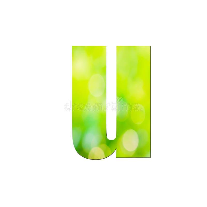 Verde natural em pequena letra 'u' sobre fundo branco ilustração royalty free